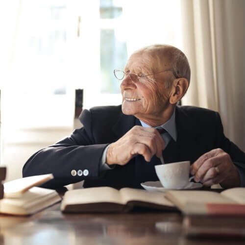 Old Man drinking tea